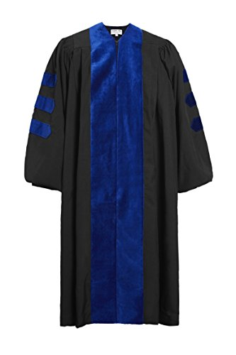 GraduationMall Unisex-adult's Deluxe Doctoral Graduation Gown-Phd Blue Trim 48(5'3