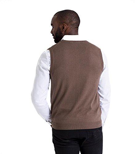 WoolOvers Pullunder aus Baumwolle-Kaschmirwolle für Herren Mocha Brown, XL