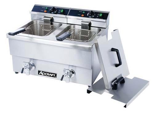 Adcraft Countertop Double Tank Deep Fryer with Faucet, 23 x 18 x 16 inch -- 1 each.
