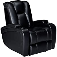 Coaster Home Furnishings  Delange Modern Power Motion One Seater Recliner with Power Headrest Storage Arms - Black Faux Leather