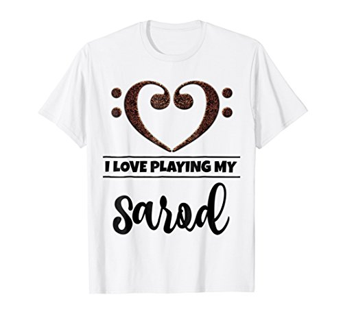 Double Bass Clef Heart I Love Playing My Sarod T-Shirt