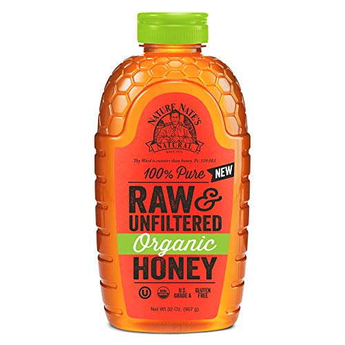 Nature Nate's 100% Pure Raw & Unfiltered Organic Honey; 32-oz. Squeeze Bottle; Product of Brazil and Uruguay; Enjoy Honey's Balanced Flavor and Wholesome Benefits, Just as Nature Intended ()