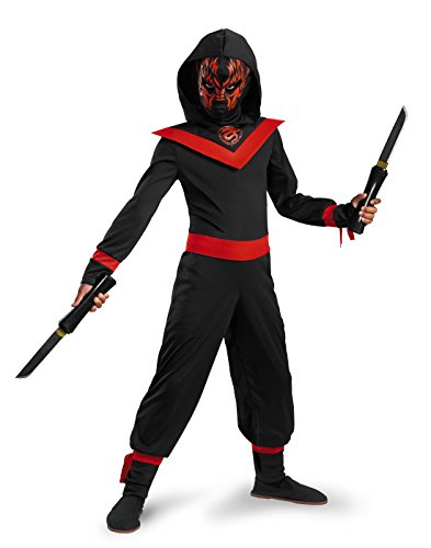 Neon Ninja Child Costumes (Glow Away Neon Ninja Costume, Black/Red, Small/4-6)