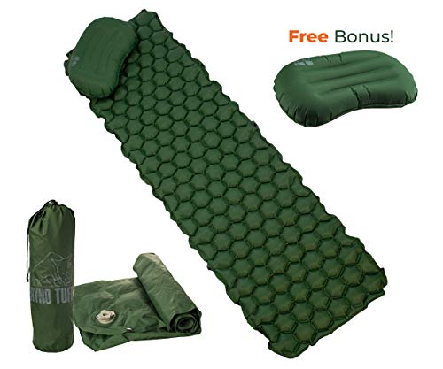 Ryno Tuff Sleeping Pad for Camping Ultralight – with Free Bonus Camping Pillow, The Inflatable Camping Mattress is Large Wide and Comfortable Yet Lightweight and Compact.