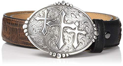 (Ariat Unisex-Adult's Triple Cross Buckle Croc Print Belt, brown, 42)