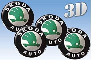 Skoda4 Stück Aufkleber Emblem Felgen Nabendeckel Radkappen