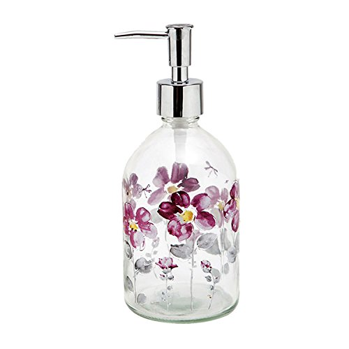 Ivy Home 17oz Flower Glass Soap Dispenser Bottle with Plastic Pump
