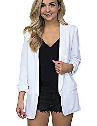 Orangeskycn Womens Blazer Jacket Open Front Solid Color Full Sleeve Office Blouse