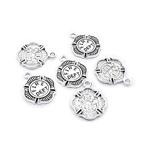 770 pcs Antique Silver Plated Jewelry Charms Findings Craft Making Vintage Beading F3RQ0N Fire Department Badge ()