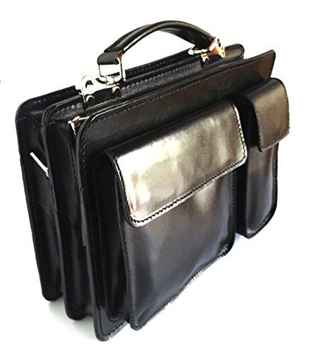 Superflybags Borsa Uomo Piccola Porta Tablet Vera Pelle Made in Italy modello Classic M 28x20x9 Nero