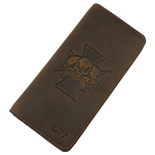 Leather Fold Distressed Bi (LXFF Mens Genuine Leather Long Bifold Wallet Checkbook Brown RFID Vintage Skull)