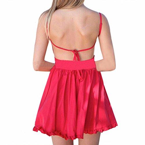 Qiyun - Vestido para mujer Rojo