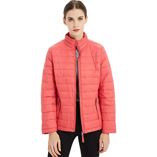 (Plusfeel Women's Ladies Lightweight Hiking Cycling Ourdoor Short Packable Down Jacket Winter Outwear Puffer Coat Gifts for Women, Red, XXL)