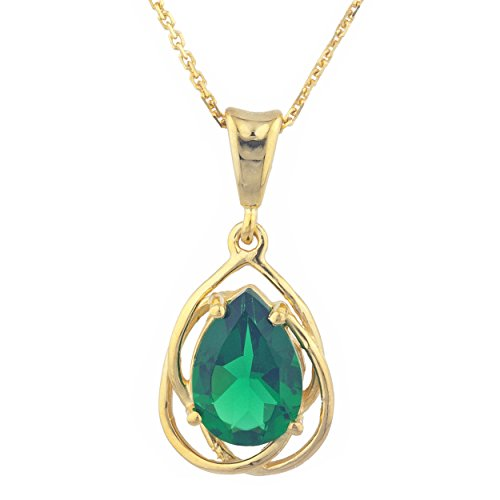 Simulated Emerald Pear Teardrop Design Pendant 14Kt Yellow Gold Plated Over .925 Sterling Silver ()