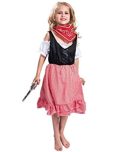 Girls Christmas Cowgirl Costume with Scarf Lovely Party Cosplay Costume for Girl Kids (Small) -
