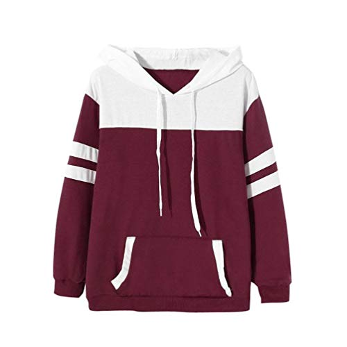 FDelinK Clearance! Women's Color Block Hooded Sweatshirt Striped Long Sleeve Pullover Hoodies with Pocket (Wine Red, L) by FDelinK