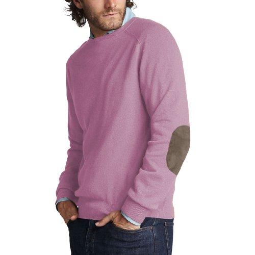 Parisbonbon Men's 100% Cashmere Elbow Pad Sweater Color L...