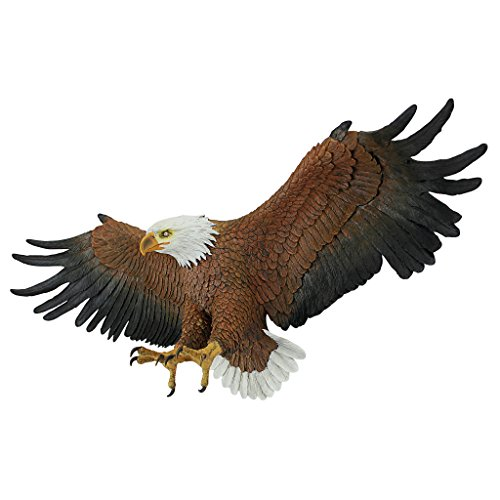 Design Toscano Freedom's Pride American Bald Eagle Patriotic Wall Sculpture, Grande 44 Inch, Polyresin, Full Color