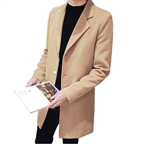 Hanxue Men's Winter Tweed Jackets Casual Slim Fit Coat Trenchcoats Khaki L