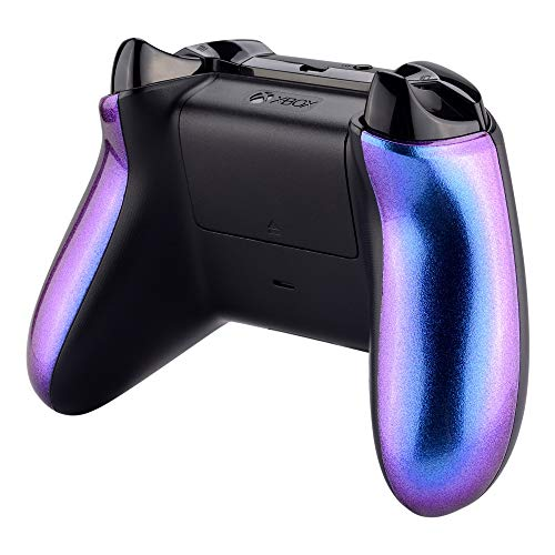 eXtremeRate Chameleon Purple Blue Glossy Back Panels Side Rails Handles, Game Improvement Replacement Parts for Xbox One X & One S Controller