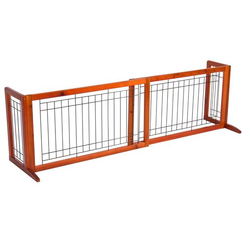 Best Choice Products Pet Fence Gate Free Standing Adjustable Dog Gate  Indoor Solid Wood Construction