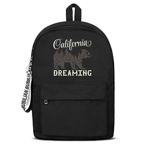 - California Dreaming Bear Mountain Women Men Water Resistant Black Canvas School Backpack Laptop Backpack