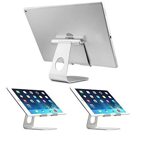 Tablet Stand Adjustable,Aluminum Stand Holder for iPad Pro iPad Air 2 3 4 iPad mini Samsung,Fits All Smart Phones,E-readers and Tablets(4-13 inch) (Silver)