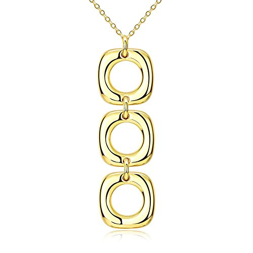 Drop Pendant Triple Circle (18K Yellow Gold Geometrical Triple Circle Drop Pendant Chain Necklace, 18