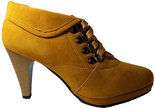 Elegante halbhohe Stiletto Pumps High Heels Stiefel zum Schnüren, braun, pink / rot, grün oder blau, Damenschuhe, STI003, raffiniert geschnitten, Schuh für Damen, ein echter Hingucker-Schuh. Braun
