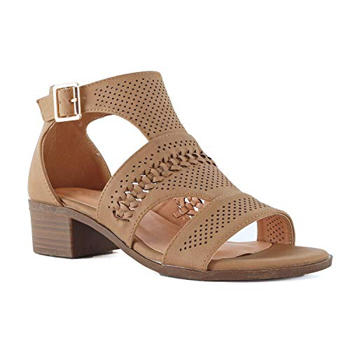 LUSTHAVE Women's Emma Laser Cut Out Blocked Chunky Heel Sandals Shoes Tan 8 ()