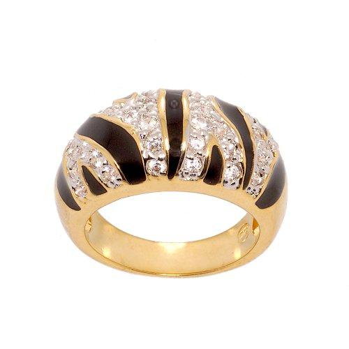Zebra Print Enamel Ring (Tiger Stripe Cubic Zirconia and Black Enamel Two Tone Modified Dome Fashion Ring Size 7)