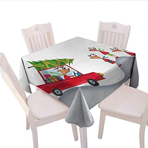 - haommhome Christmas Picnic Tablecloth Reigndeer Family Father in Retro Red Car and Tree Kids Doodle Drawing Artwork Party Tablecloth 36