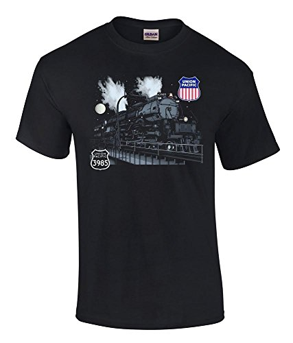 union-pacific-challenger-3985-at-night-railroad-t-shirt-3985