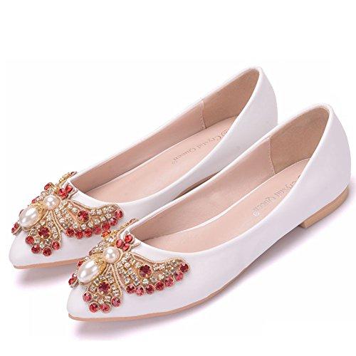 SL-Wedding Zapatos de Boda Novia/Apliques Zapatos de boda de encaje/Zapatos de mujer de la boda Zapatos de bodaTaladro de agua Punta calzado plano white