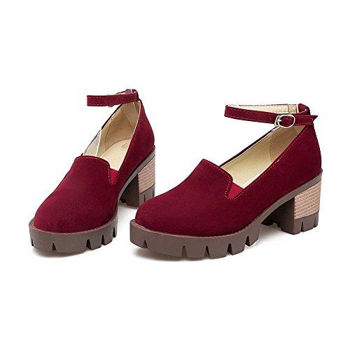 BalaMasa Womens Buckle Chunky Heels Platform Urethane Pumps Shoes Claret ffNBN