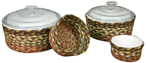 Earth Rugs 36-CB024 Basket Set, 9 x 9 x 0.17, Olive/Burgundy/Gray