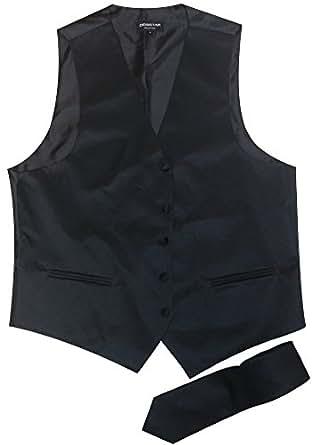 Men's Black Tuxedo Vest Tie Set Medium