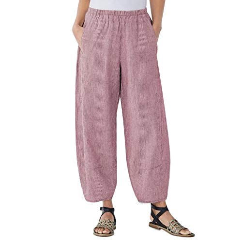 JOFOW Harem Pants for Women Plus Size Solid Vertical Striped Bloomers Aladdin Casual Loose Comfy Linen Long Pajamas Pant (2XL,Red) (2XL,Red) (Thermal Spade Black)