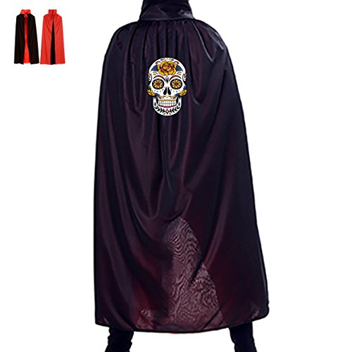 Rose Mask Skull Halloween Cloak Cape Party Cosplay Long Reversible Adult Death Unisex