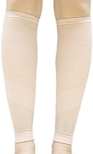 EXIO Calf Compression Sleeve, 1 Pair – Seamless Tech Leg Supports 20-35mmHg for Shin Splint, Relieve Calf Pain, Swelling, Varicose Veins for Men Women (Beige, L-XL(13~16))
