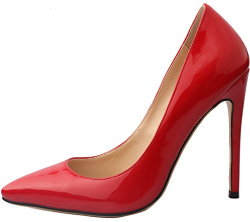 Vaneel Women Shoes 12cm Stiletto Bridal Wedding Prom Designer Sexy Casual Extreme High Heels Ladies 2017 Spring Womens Pumps Large Size Court Shoes Red Patent ru53E5