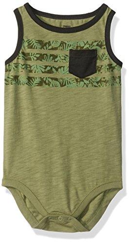 Gymboree Baby Boys Tank Bodysuit, Olive Stripe Pockets, 3-6 mo
