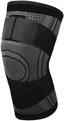 MoKo Knee Compression Sleeve, Adjustable Knee Brace Stabilizers Support with Straps for Arthritis Meniscus Tear, Joint Pain Relief, Injury Recovery, for Weightlifting, Running, Basketball, Volleyball