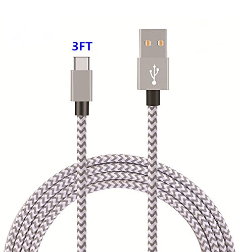 USB Type C Cable,THRRLY Nylon Braided USB A to USB C Long Cord Fast Charger Cable for Samsung Galaxy S9/S9 Plus/S8 Plus/Note 8,LG G6/G5/V20,New Macbook and more. (Silver+Gray 3FT) by THRRLY (Image #5)