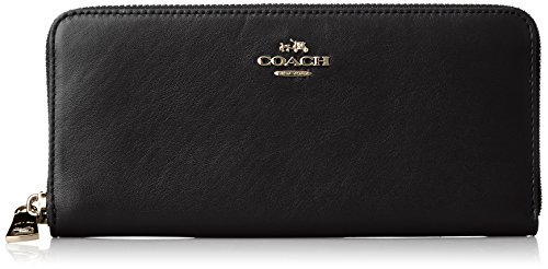 COACH Women's Smooth Slim Accordian Zip Li/Black One Size by Coach