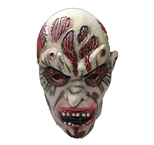 WeiYun Scary Latex Monster Mask Lifelike,Walking Horror Ghost Devil Evil Face Mask,Ugly Mask Cosplay Costume Fancy Party Favors for Halloween,Movie Props Green Latex Horn Blame Mask 1Pcs for $<!--$7.69-->