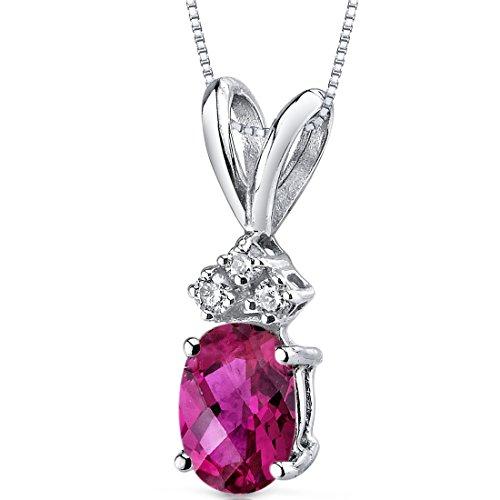 (14 Karat White Gold Oval Shape 1.00 Carats Created Ruby Diamond Pendant)