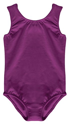 Dancina Girls Dance Leotard Tank Top Cotton and Spandex Gymnastics Unitard 6 Purple