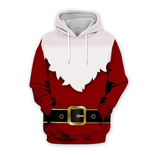Funnygals - 3D Funny Christmas Hoodie Printed Sweatshirt Ugly Sweater Long Sleeve Tops with Pocket for Men Women XS-7XL