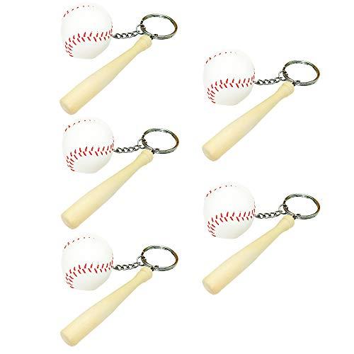 (5 Pcs Mini Baseball and Wooden Bat Keychains Key Ring)